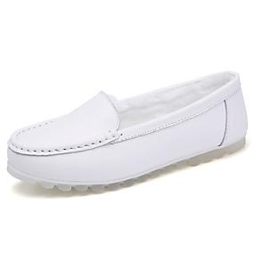 voordelige Damesinstappers & loafers-Dames Loafers & Slip-Ons Platte hak Ronde Teen Leer Informeel Winter Wit