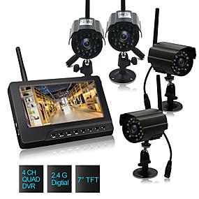 preiswerte Schutz & Sicherheit-7-Zoll-TFT Digital 2.4G Wireless Nachtsicht 3.6mm WeitwinkelLen Kameras Audio-Video-Babyphone 4-Kanal-Quad DVR Sicherheitssystem mit IR-Nachtlicht vier Kameras