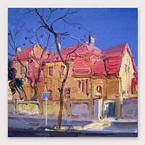 povoljno Nova kolekcija-Hang oslikana uljanim bojama Ručno oslikana - Sažetak Pejzaž Moderna Uključi Unutarnji okvir