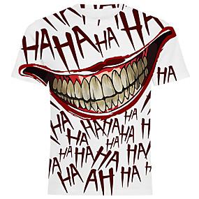 preiswerte Herrenmode-Herrn Solide - Street Schick / Übertrieben Übergrössen T-shirt, Rundhalsausschnitt Druck Rote / Kurzarm