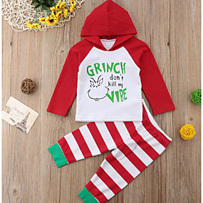 povoljno Sniženje-Dijete Dječaci Osnovni Print / Božić Dugih rukava Regularna Komplet odjeće Red / Dijete koje je tek prohodalo