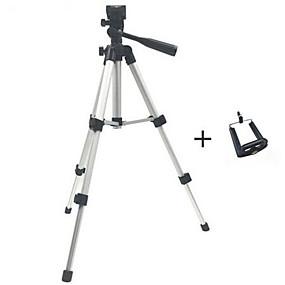 billige Mobilkamera vedlegg-profesjonell sammenleggbar kamerastativholder stativskrue 360 graders fluidhode stativstabilisator aluminium med telefonholder