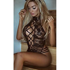 abordables Lencería y ropa interior-Mujer Encaje Body Ropa de dormir Un Color Negro S M L / Súper Sexy