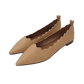 voordelige Damesschoenen met platte hak-Dames Platte schoenen Platte hak Gepuntte Teen Leer Lente Zwart / Donker Bruin / Roze