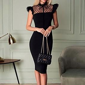 preiswerte Damen Kleider-Damen Bodycon Kleid Solide Mini