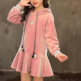 preiswerte Baby & Kinder-Kinder Mädchen Solide Kleid Rosa