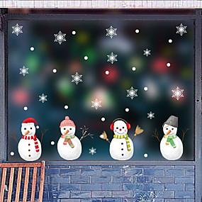 preiswerte Dekoration für Zuhause-Weihnachtsnetter Schneemannfensterfilm& ampampamp aufkleber dekoration tier / gemusterte urlaub / charakter / geometrische fensteraufkleber aus pvc (polyvinylchlorid)