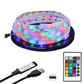 povoljno Svjetlosne trake i žice-ZDM® 2m Savitljive LED trake RGB svjetleće trake 120 LED diode 2835 SMD 8mm 1 24Ključuje daljinski upravljač 1set RGB Vodootporno Cuttable USB USB napajanje