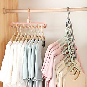 preiswerte Haus & Garten-2pcs Kleiderbügel Veranstalter Multi-Port-Unterstützung Trockengestelle Kunststoffschal cabide Lagerregal Kleiderbügel