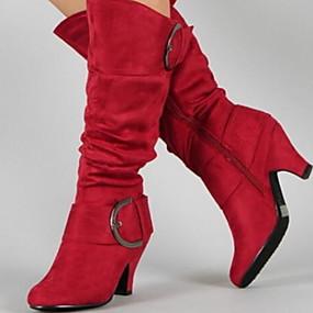 preiswerte Damenschuhe-Damen Stiefel Blockabsatz Runde Zehe Wildleder Mittelhohe Stiefel Herbst Winter Schwarz / Purpur / Rot
