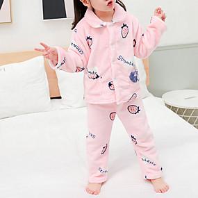 preiswerte Unterwäsche & Socken für Babys-2pcs Baby Mädchen Druck Schnalle / Print / Grundlegend Schlafanzüge Rosa