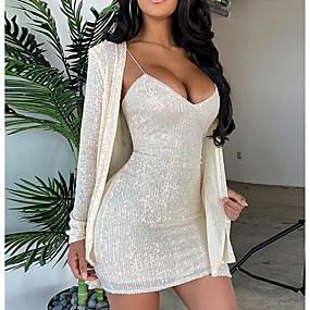 preiswerte Damenbekleidung-Damen Elegant Schlank Zweiteiler Kleid - Pailletten, Solide Übers Knie Gurt
