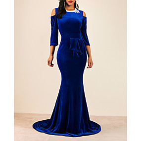 preiswerte Damenbekleidung-Damen Elegant Trompete / Meerjungfrau Kleid Solide Maxi