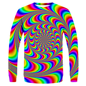 preiswerte Neue im Sortiment-Herrn 3D / Regenbogen / Paisley-Muster - Street Schick / Übertrieben EU- / US-Größe T-shirt, Rundhalsausschnitt Regenbogen / Langarm