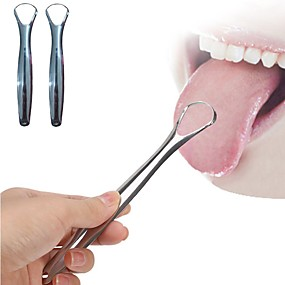 cheap Bathroom Gadgets-2PC Useful Tongue Scraper Stainless Steel Oral Tongue Cleaner Medical Mouth Brush Reusable Fresh Breath Maker
