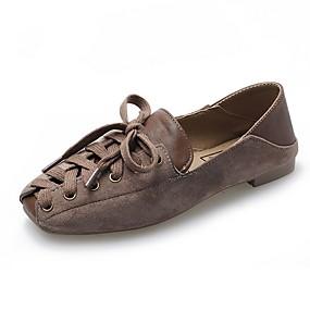 voordelige Damesschoenen met platte hak-Dames Platte schoenen Platte hak Vierkante Teen Canvas Zomer Zwart / Bruin / Lichtbruin