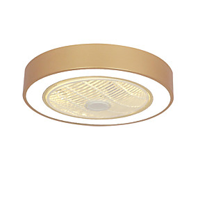 cheap Ceiling Lights & Fans-1-Light Nordic Invisible Ceiling Fan Lamp Dining Room Bedroom Macaron Led Silent Tricolor Light Remote Control Circular Fan Lamp