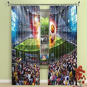 preiswerte 3D Vorhänge-flamme fußball digitaldruck 3d vorhang verdunkelungsvorhang hochpräzise schwarz seidenstoff hochwertigen vorhang