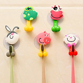 cheap Bathroom Gadgets-4pcs Animal Cute Cartoon Suction Cup Toothbrush Holder Bathroom Accessories Set Wall Suction Holder Tool