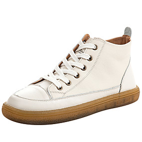 voordelige Damessneakers-Dames Sneakers Platte hak Ronde Teen Leer Lente & Herfst Wit / Groen / Rood
