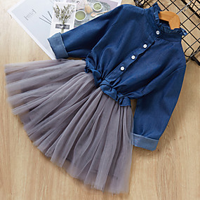 preiswerte Baby & Kinder-Kinder Mädchen Einfarbig Knielang Kleid Leicht Blau