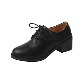 voordelige Dames Oxfords-Dames Oxfords Blokhak Ronde Teen PU minimalisme Herfst Zwart / Beige