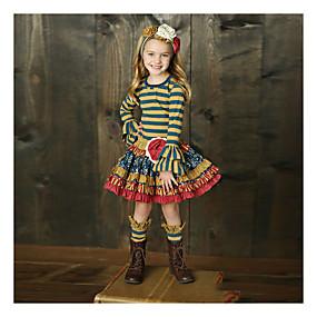 preiswerte Baby & Kinder-Kinder Mädchen Grundlegend Gestreift Langarm Kleidungs Set Regenbogen