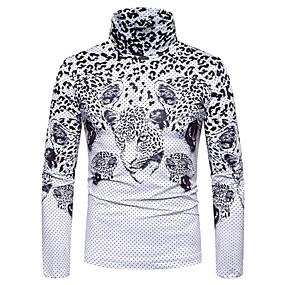 preiswerte Herrenmode-Herrn Blumen / Einfarbig - Grundlegend / Elegant T-shirt Weiß