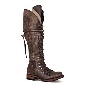 billige Mote Boots-Dame Støvler Knehøye Støvler Lav hæl Kvadratisk Tå PU Knehøye støvler Høst vinter Svart / Brun