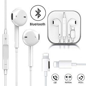 cheap Wired Earbuds-Wired Headphones Charging Music 2 in 1 Bluetooth Earphones For Apple IPhone X XR XS Max 8 7 Plus 11 11 Pro Max  Lightning Stereo Earphone Earbuds with Microphone EarPhone