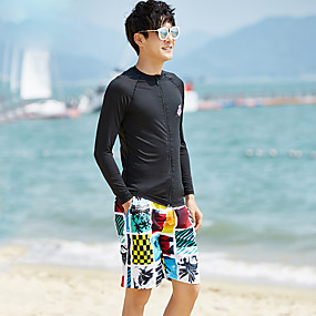 cheap Surfing, Swimming & Diving-Men's Rash Guard Dive Skin Suit Spandex Diving Suit Quick Dry Long Sleeve 2-Piece - Swimming Snorkeling Water Sports Patchwork Autumn / Fall Spring Summer / Micro-elastic