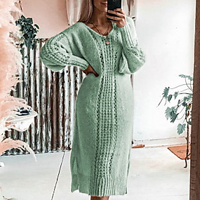 cheap Winter Clothing-Women's Daily Wear Basic A Line Dress - Solid Colored Light Brown Green Gray S M L XL