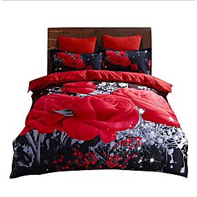 preiswerte Haus & Garten-Bettbezug-Sets Geometrisch / 3D Polyester / Polyamid Reaktivdruck 4 StückBedding Sets / 4-teilig (1 Bettbezug, 1 Bettlaken, 2 Kissenbezüge)