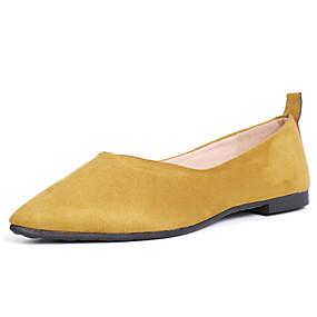voordelige Damesschoenen met platte hak-Dames Platte schoenen Lage hak Gepuntte Teen Leer / PU Lente Zwart / Amandel / Geel
