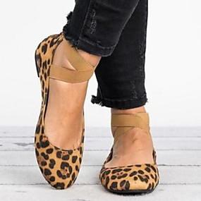 voordelige Damesschoenen met platte hak-Dames Platte schoenen Platte hak Ronde Teen Microvezel Zomer Zwart / Bruin / Luipaard