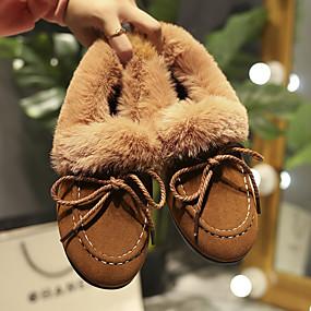 voordelige Damesschoenen met platte hak-Dames Platte schoenen Platte hak Ronde Teen Imitatiebont / PU Lente & Herfst / Herfst winter Zwart / Lichtbruin / Grijs