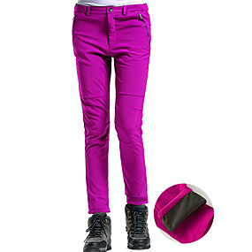 cheap Camping, Hiking & Backpacking-Women's Hiking Pants Trousers Softshell Pants Solid Color Winter Outdoor Thermal Warm Waterproof Windproof Fleece Lining Fleece Pants / Trousers Bottoms Purple Red Black Pink Grey Skiing Camping