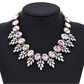 cheap Party Evening-Women's Multicolor Sapphire Crystal Cubic Zirconia Drop Earrings Choker Necklace Necklace Oval Cut Leaf Statement Ladies Luxury Elegant Rhinestone Earrings Jewelry Dark Yellow / White / Purple For