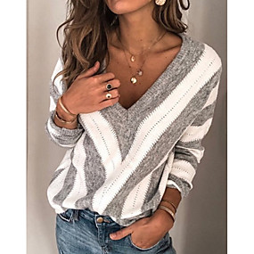 cheap Winter Clothing-Women's Striped Long Sleeve Plus Size Pullover Sweater Jumper, V Neck Winter Wine / Purple / Gray S / M / L