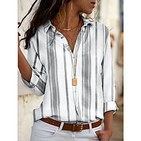 cheap Winter Clothing-Women's Daily Shirt - Striped Shirt Collar Yellow