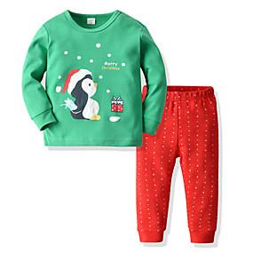 preiswerte Unterwäsche & Socken für Babys-2pcs Baby Mädchen Schneemann Punkt / Weihnachten Print Langarm Baumwolle Schlafanzüge Rote