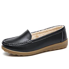 voordelige Damesinstappers & loafers-Dames Loafers & Slip-Ons Platte hak Ronde Teen Leer Informeel Winter Zwart / Wit / Rood