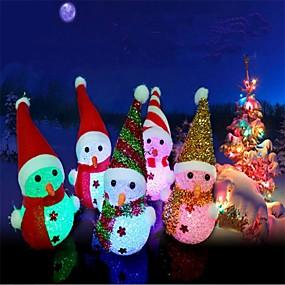 preiswerte Dekorative Beleuchtung-3pcs Weihnachten führte gelegentliche Farbe der leuchtenden hängenden hängenden Weihnachtsbaumdekoration des Schneemannes