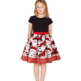 preiswerte Baby & Kinder-Kinder Mädchen Geometrisch Weihnachten Kleid Weiß