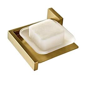 preiswerte Seifenablage-badzubehör seifenschalenhalter messing halterung glasplatte wandmontage gold gebürstet modern waschraum hardware anhänger seifenkorb
