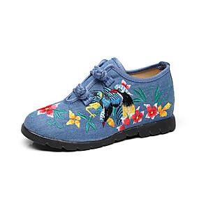voordelige Damesschoenen met platte hak-Dames Platte schoenen Sleehak Ronde Teen Canvas Korte laarsjes / Enkellaarsjes Chinoiserie Wandelen Lente & Herfst Zwart / Rood / Blauw