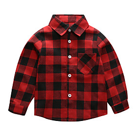 cheap Sale-Kids Boys' Vintage Black & Red Color Block Christmas Patchwork Long Sleeve Cotton Shirt Red