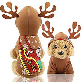 preiswerte Sport & Hobbys-Hunde Weste Weihnachten Winter Hundekleidung Kaffee Weihnachten Kostüm Baby Kleiner Hund Bichon Frise Pudel Stoff Halloween XS S M L XL XXL