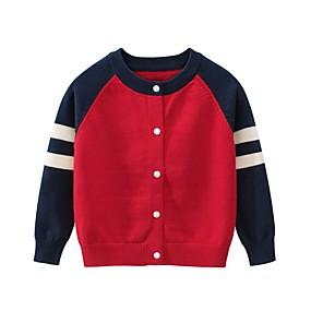billige 11-11 supersalg-Barn Gutt Grunnleggende Fargeblokk Jul Langermet Genser og cardigan Rød