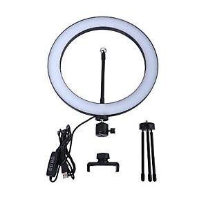 preiswerte Beleuchtung, Studio und Zubehör-LED Selfie Ringlicht 26cm dimmbar Kamera Telefon Ring Lampe 10inch mit Tischstativen für Make-up Video Live Studio